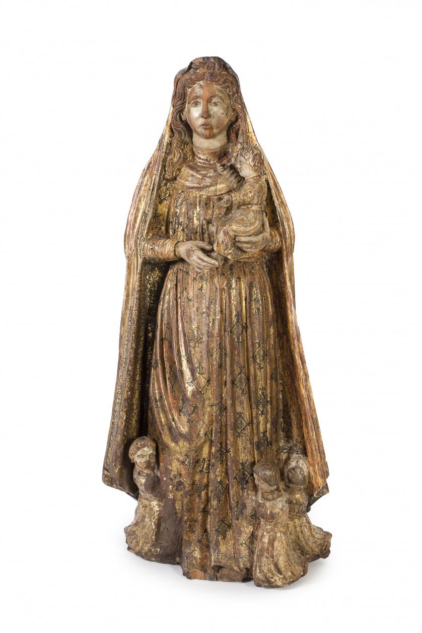 """""""Virgen con Niño"""" escultura en madera tallada, policromada"""