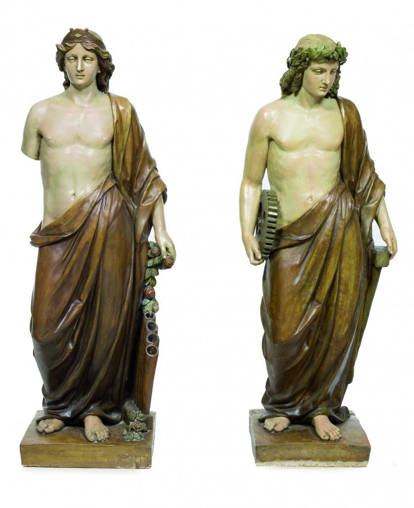 Pareja de figuras alegóricas en terracota pintada.Posiblem