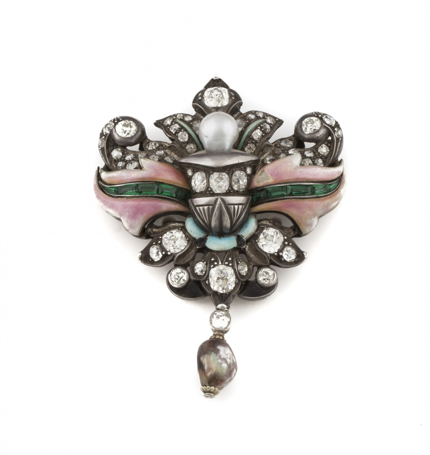 Original broche c.1800 con diamantes de talla antigua, esma
