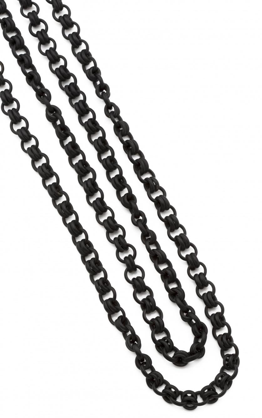 Cadena larga de abanico pp s.XX en baquelita; con dobles ar