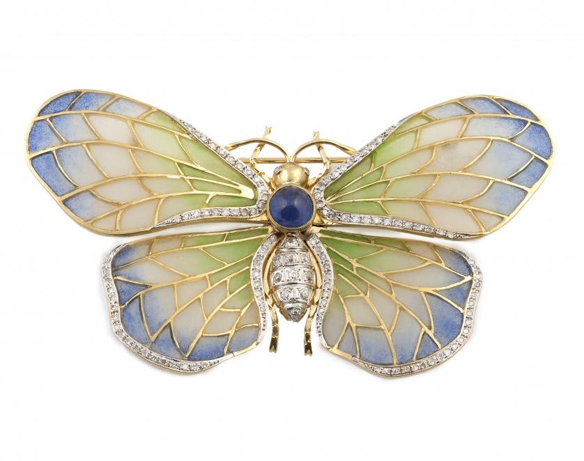 Broche mariposa de esmalte plique-à-jour entonos graduados