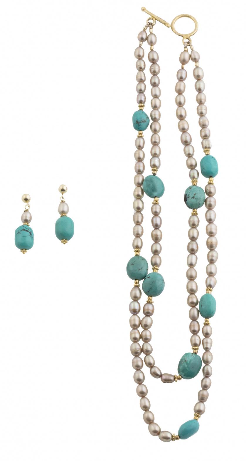 Conjunto de gargantilla doble y pendientes con perlas culti