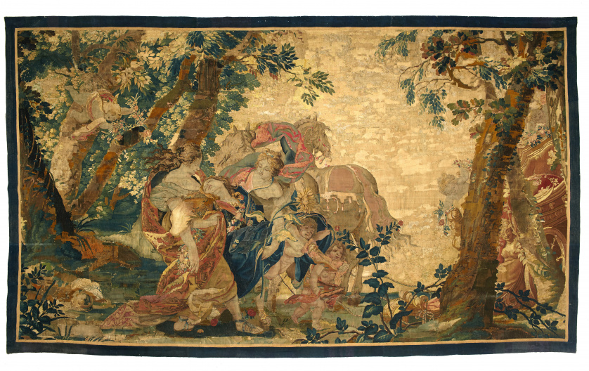 Tapiz en lana y seda.Escena mitológicaFrancia, S. XVIII.
