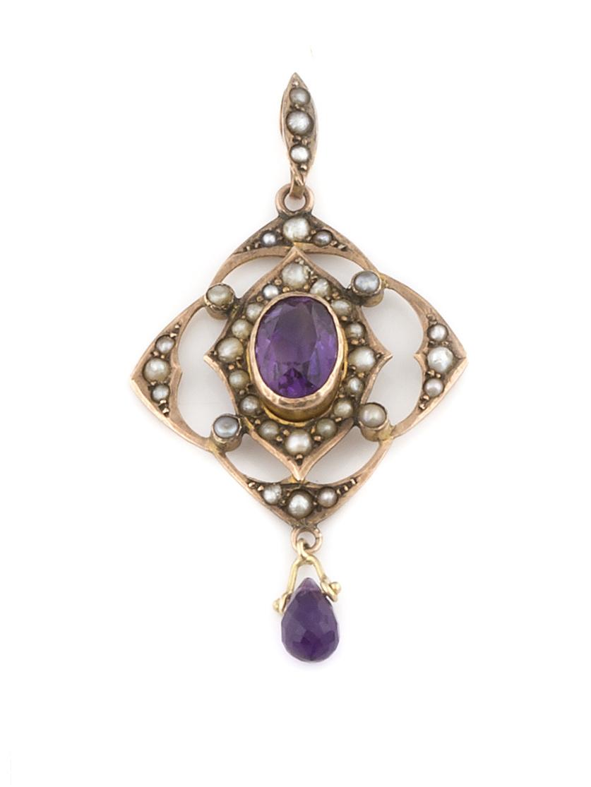 Colgante de pp. S.XX con amatistas y perlas finas en diseño