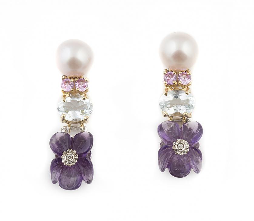 Pendientes largos SANTAGOSTINO con perla de 9 mm, rosas de