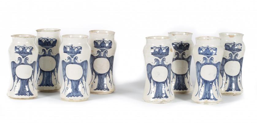 Cuatro botes de farmacia de cerámica de Villafeliche esmalt