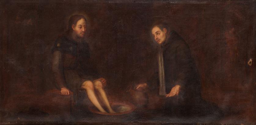 ESCUELA SEVILLANA, SIGLO XIXSan Agustín lavando los pies a