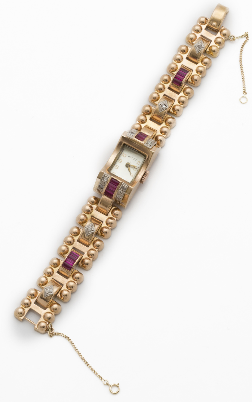 Reloj ASCOT años 40 con diseño chevaliêre de piezas geométr