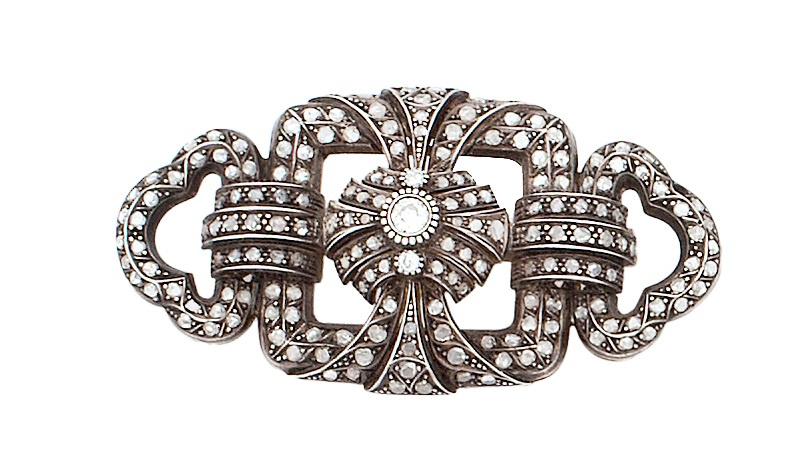 Broche placa de diamantes de pp. S. XX  con diseño geométri