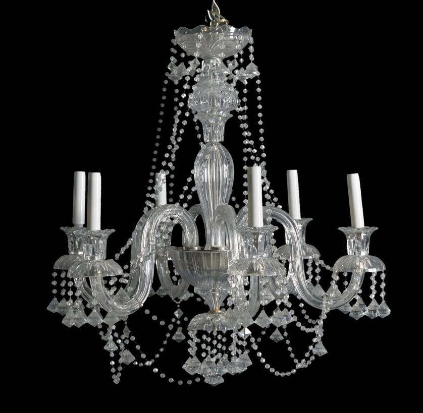 Lámpara de araña, de  seis brazos de luz.España, S. XX