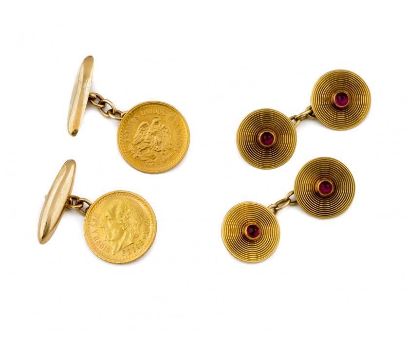 Gemelos dobles años de pp. S.XX con discos de oro grabado c