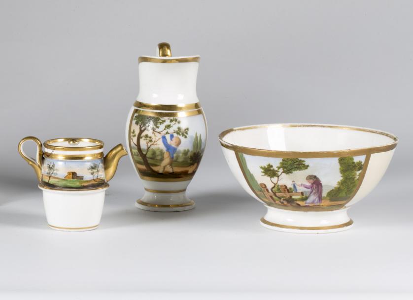 Jofaina, palangana, cafetera en porcelana esmaltada con esc