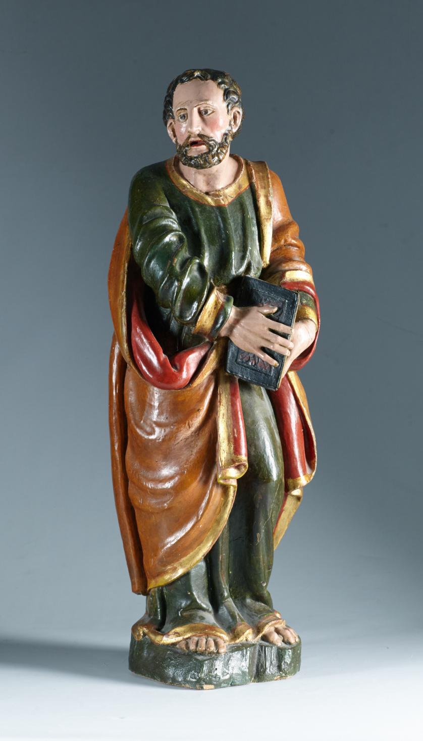 """""""San Mateo"""" Escultura en madera tallada, estucada y polic"""