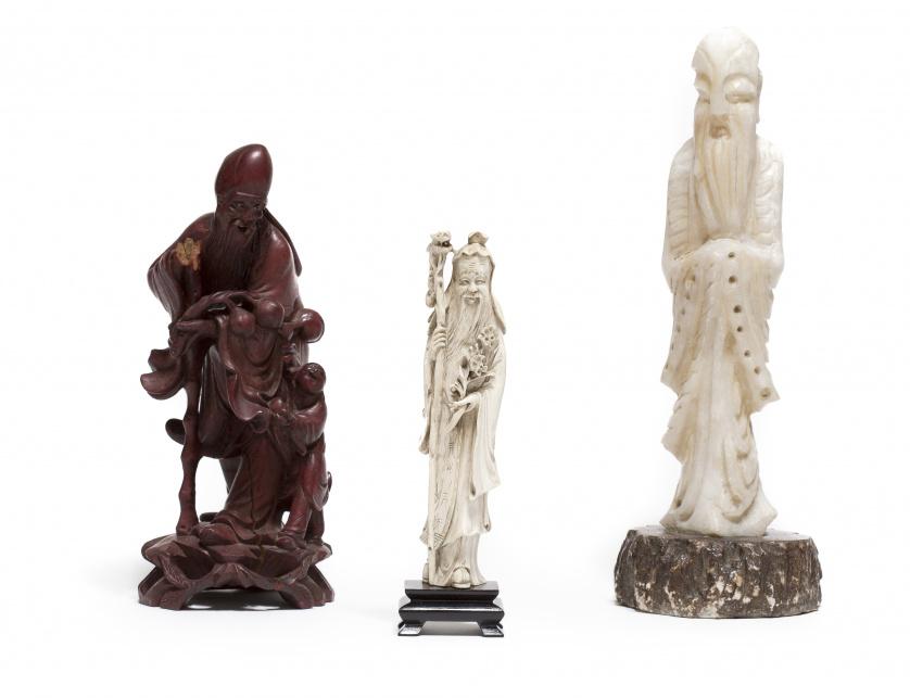 Tres figuras del Dios de la longevidad, anciano del polo ce