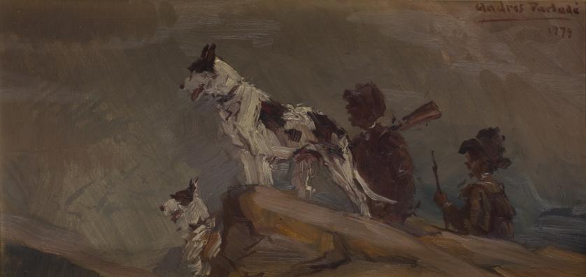 ANDRES PARLADÉ (Escuela española, S. XX)Perros de caza