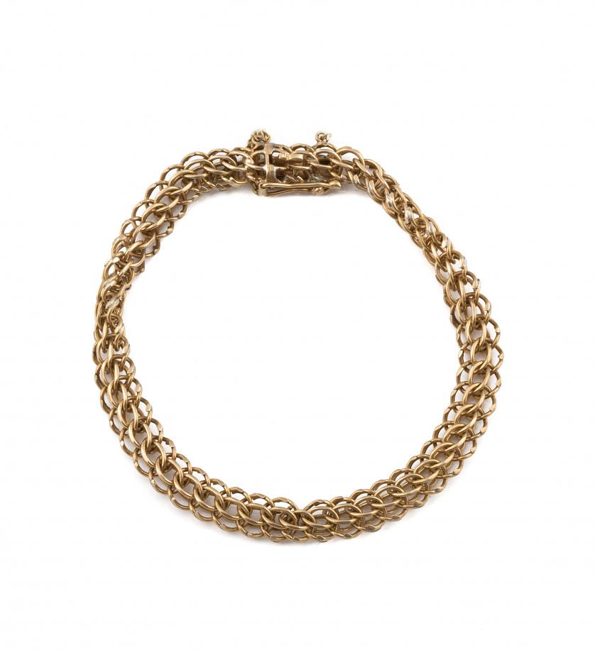 Pulsera de cadena dobles eslabones articulados en oro amari
