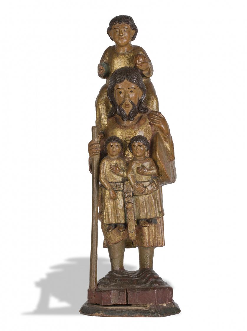 """""""San Cristóbal"""" en madera tallada y dorada.Escuela navarr"""