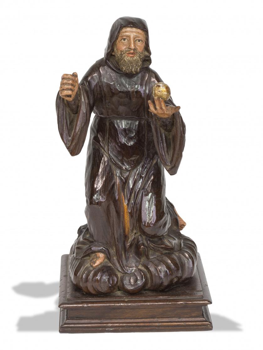 Santo en madera tallada y policromada.Escuela castellana,