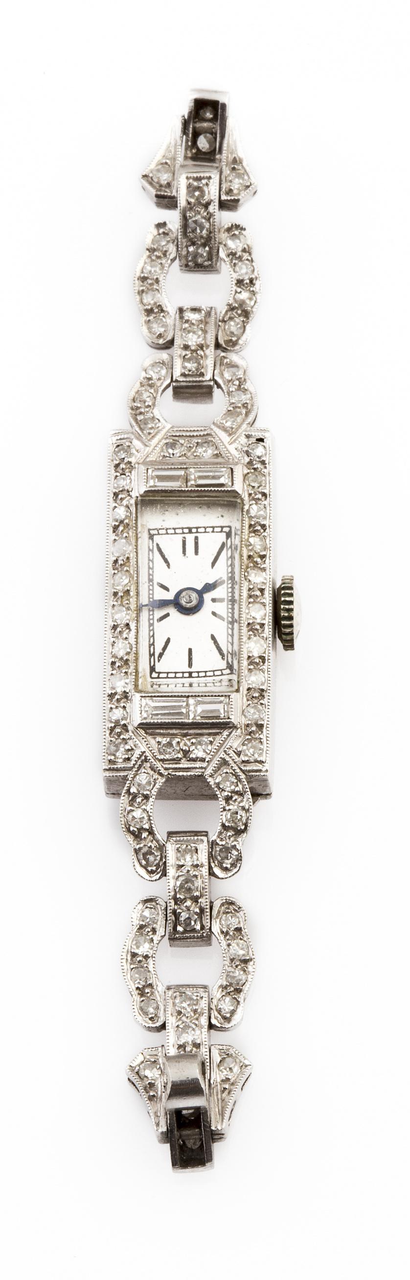 Frente de reloj de pulsera de brillantes Art-Decó con diseñ