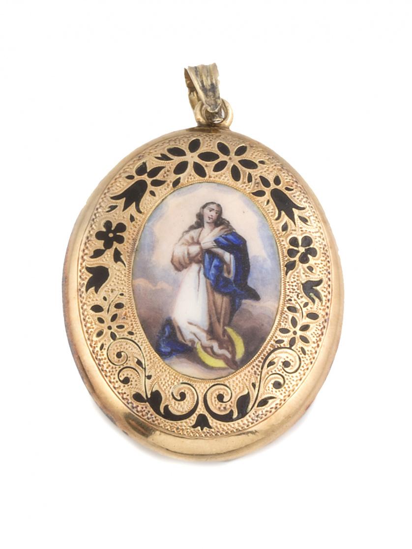 Colgante portafotos s.XIX con Virgen en esmalte polícromo r