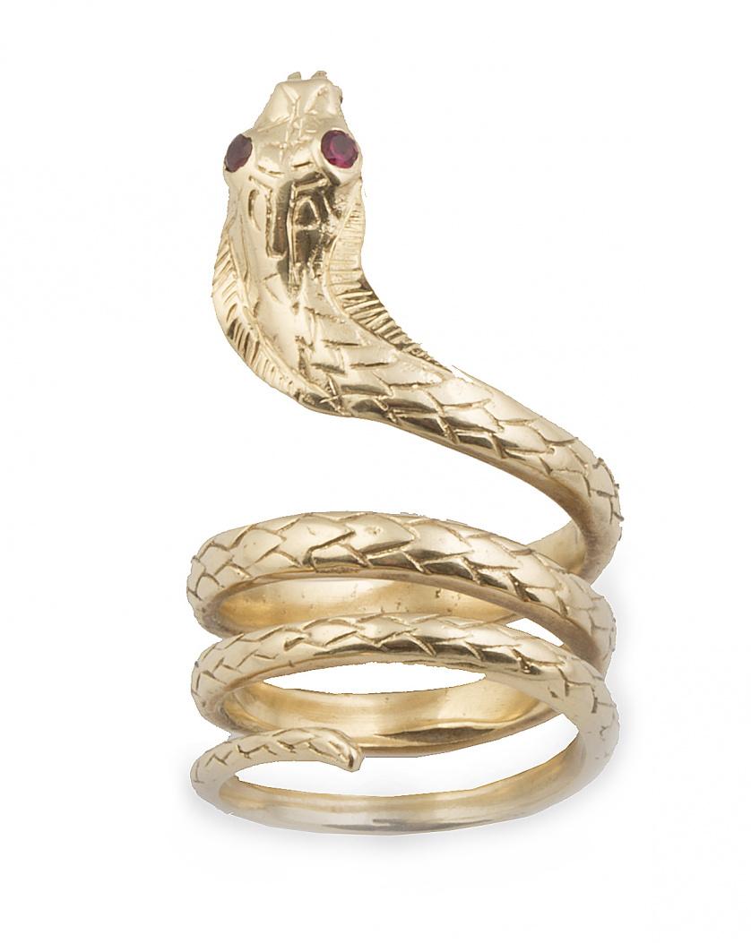 Sortija en forma de serpiente con ojos de rubí,en oro amari