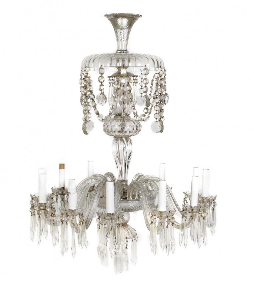 Lámpara de doce brazos de luz de cristal soplado, con pande