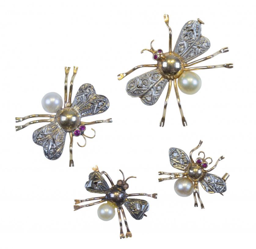Conjunto de cuatro broches mosca de diferentes tamaños, con