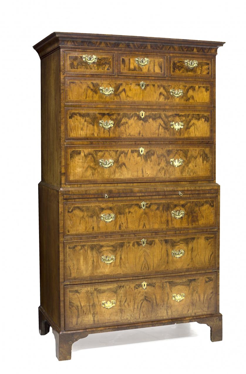 Chest on chest Jorge II en madera de caoba y palma de caoba