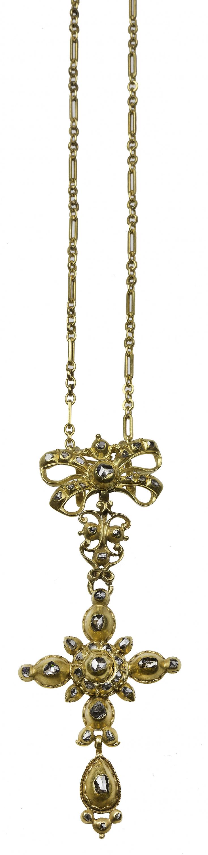 Cruz colgante S. XVII - XVIII de diamantes talla tabla con