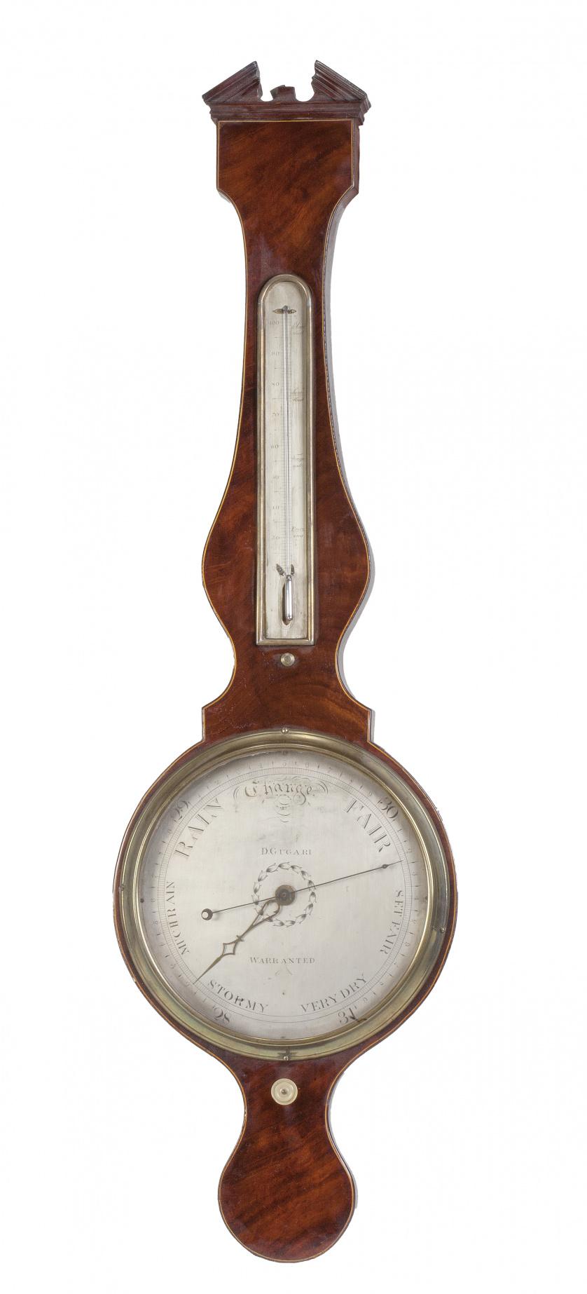 Barómetro en madera de caoba. Firmado en la esfera. D Gugari