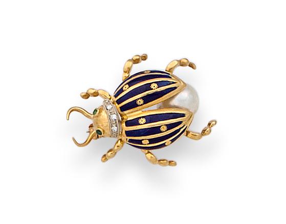 Broche escarabajo con perla,esmalte azul, brillantes y ojos