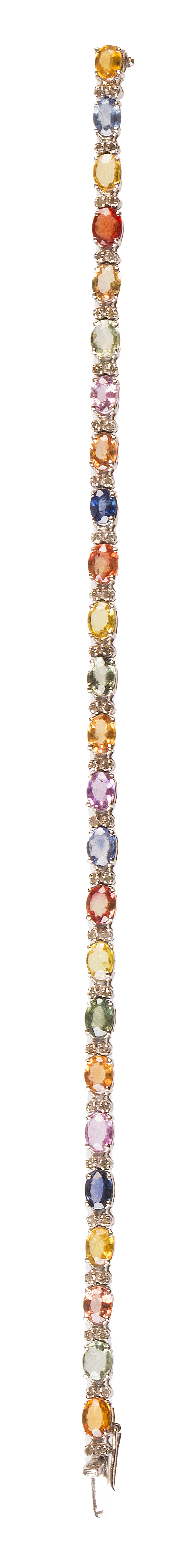 Pulsera de zafiros multicolor alternos con parejas de brill