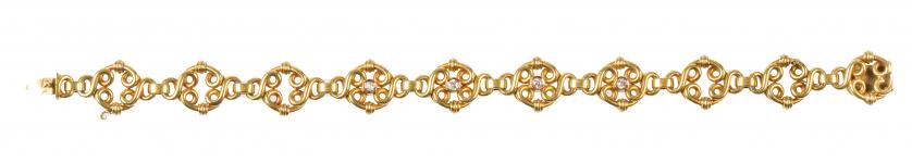 Pulsera Art-Nouveau articulada formada por diez piezas circ