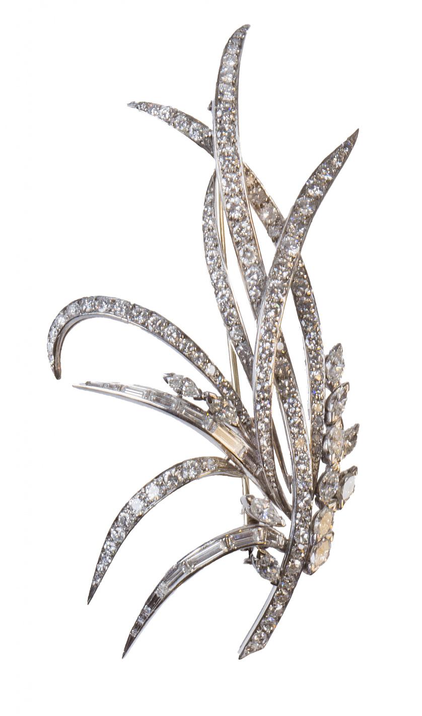 Broche años 50 de platino y brillantes en estilizadas hojas