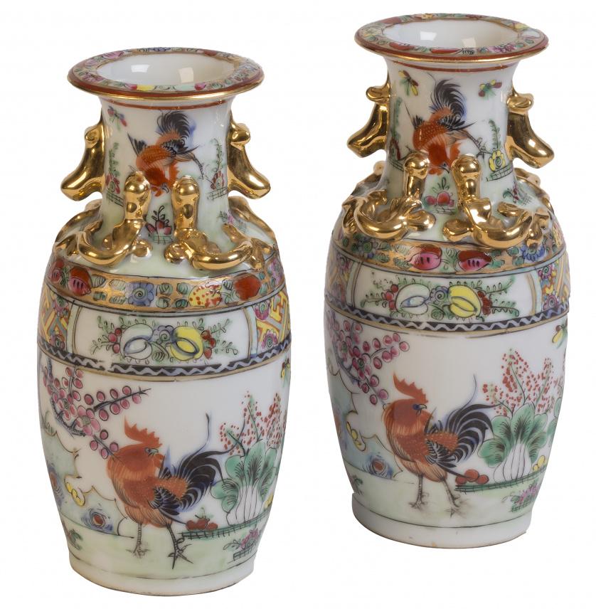 Pareja de jarrones de porcelana china, Cantón, S. XIX-XX