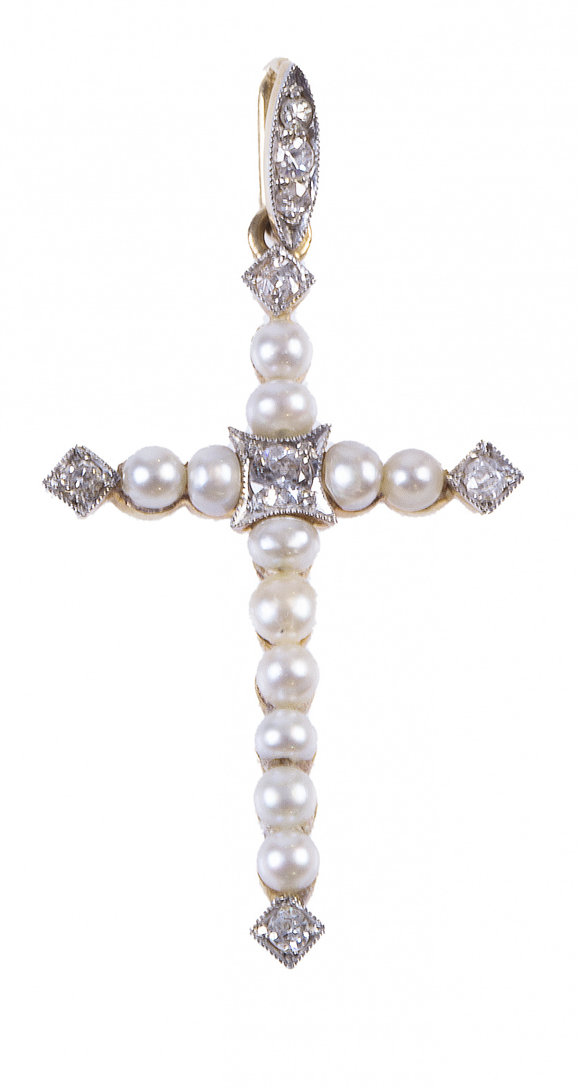 Cruz colgante de pp. S. XX de perlas finas con brillantes e