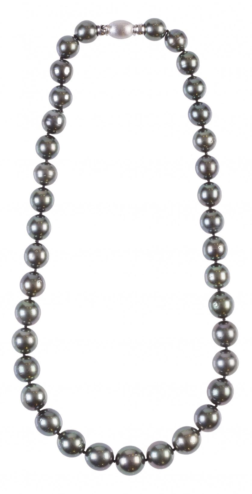 Collar de perlas de Tahití con cierre de tonel en oro blanc