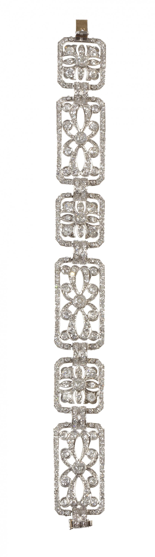 Brazalete estilo Art-Decó de platino y brillantes, con dise