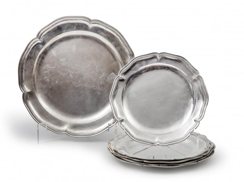 Seis fuentes de plata en su color. Con marcas, dos rusas, S