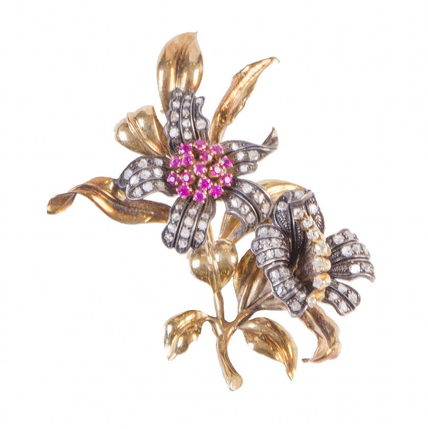 Broche pp. S. XX con dos flores de diamantes brillantes y r