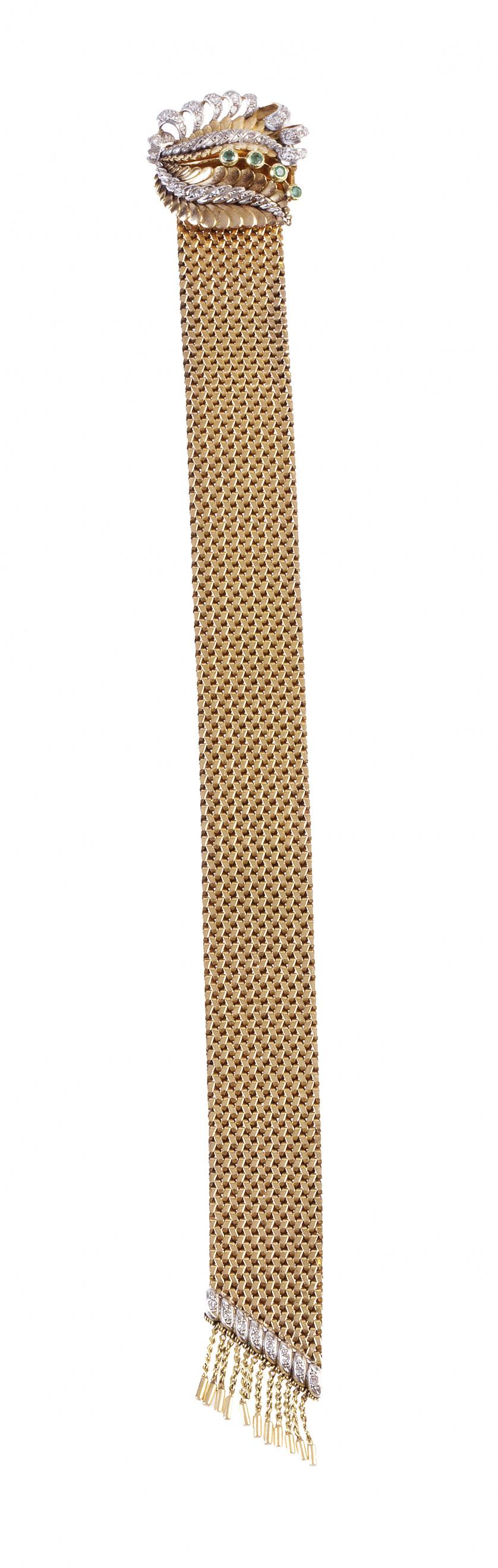 Pulsera en malla de oro años 40 con centro de hojas de diam