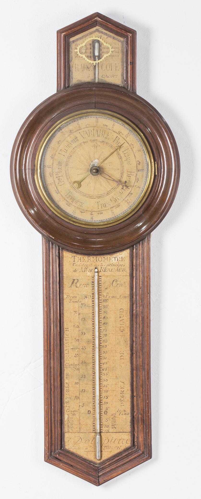 Barómetro de madera de caoba y papel pintado, marcado Saint