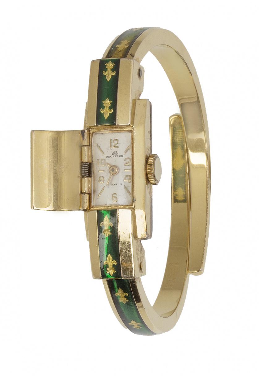 Reloj BUCHERER plaqué or con línea de esmalte verde decorad