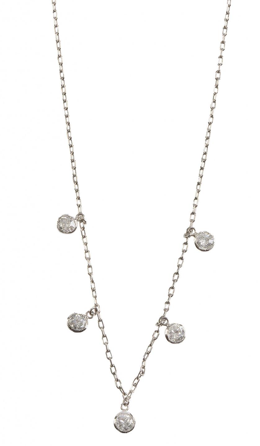 Cadena de platino con cinco chatones de brillantes colgante