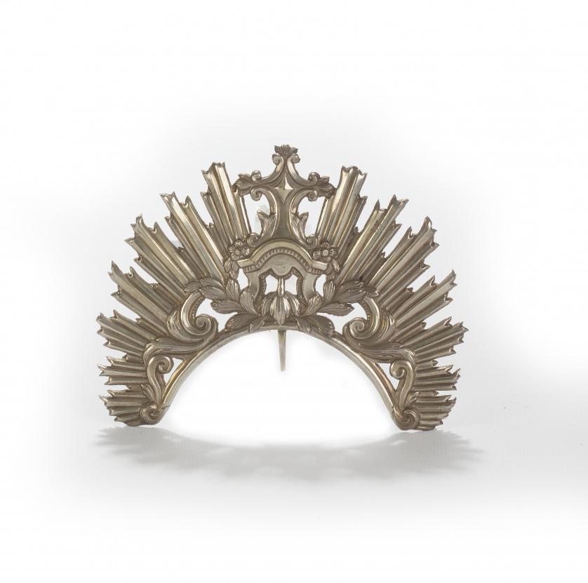Resplandor para imagen en plata con decoración de guirnalda