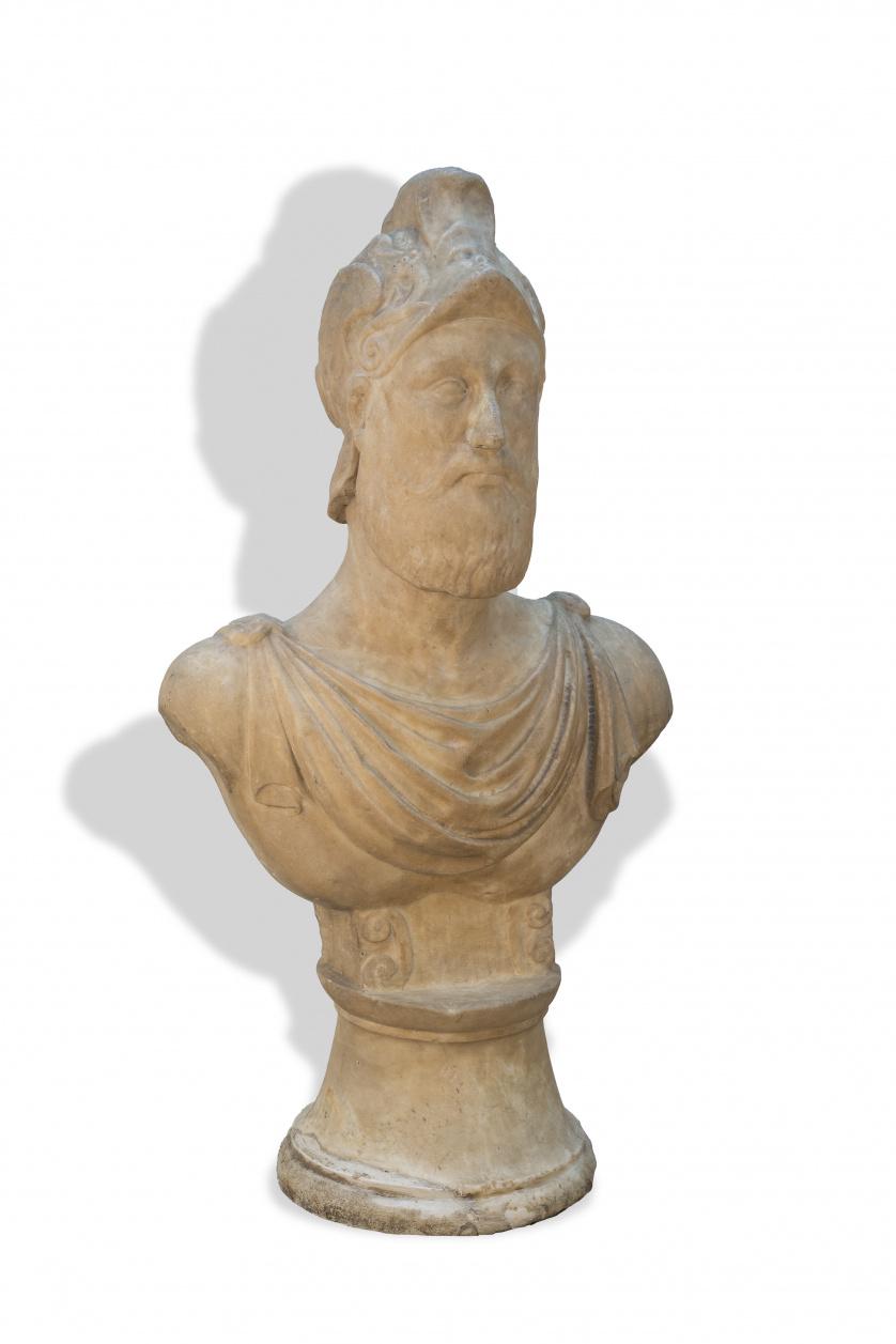 Busto en mármol representando al dios de la guerra Ares.