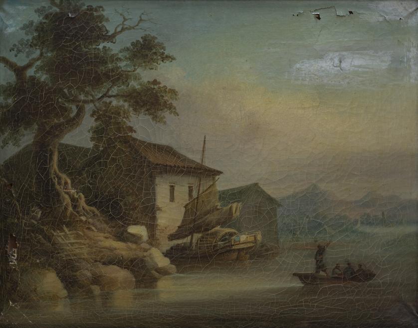 LAM QUA (1825-1860), LAM QUA (1825-1860)Paisaje de la cos