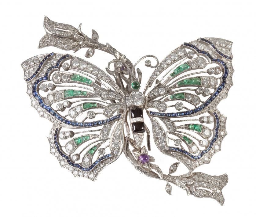 Broche con diseño de mariposa de estilo Art-Decó con brilla
