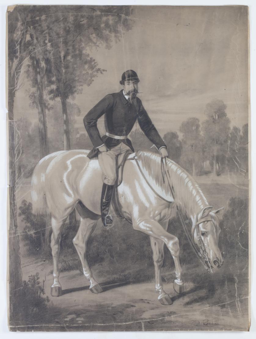DANIEL PEREA (Madrid, 1834-1909)Retrato ecuestre