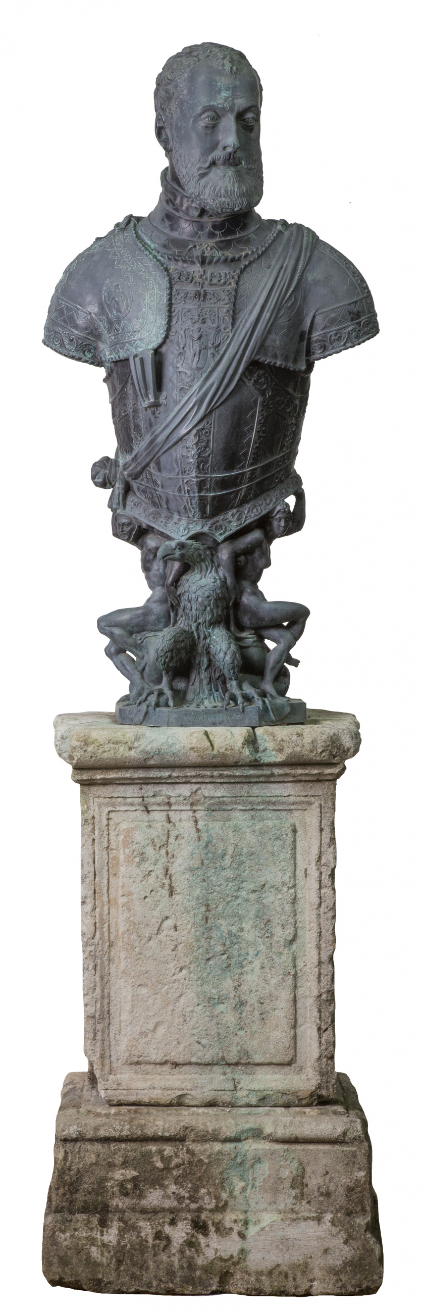 Busto de Carlos V en bronce con los atributos del Emperador